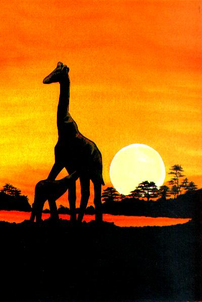 Giraffes at Sunset (30KB)